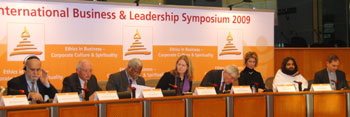 Panelists at the conference (L to R): Mr. Grand Rabbi Marc Raphaël Guedj, Director of Fondation Racines et Sources; Günter Verheugen, Vice‐President of the European Commission; Mr. Nirj Deva, Member of European Parliament, U.K.; Ms. Erika Mann Member of European Parliament, Germany; Prof. Ruud Lubbers, former Prime Minister of the Netherlands; on Brigitte Mohn, member of the executive Board, Bertelsmann Foundation; Swami Pragyapad, International Faculty, The Art of Living.